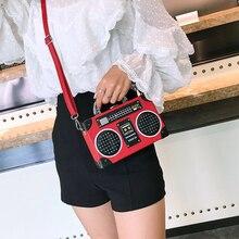 Bolso de mano de mujer de moda con lentejuelas y estilo de Radio para mujer bolso bandolera de cuero Pu Harajuku Mini