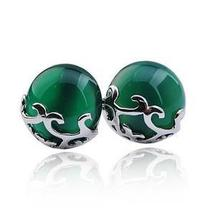 Free shipping 2013 new arrival Natural cat eye gem 925 sterling silver female stud earrings jewelry wholesale
