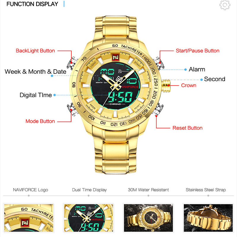 Image 3 - NAVIFORCE Mens Watches Luxury Gold Steel Strap Waterproof Sports LED Digital Military Quartz Wristwatch Clock Relogio Masculino-in Quartz Watches from Watches