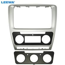 LEEWA Silver Car Radio Stereo 2DIN Fascia Panel Ripara La Struttura del Facia Trim Installare Kit di Montaggio Per Skoda Octavia Auto/ manuale A/C