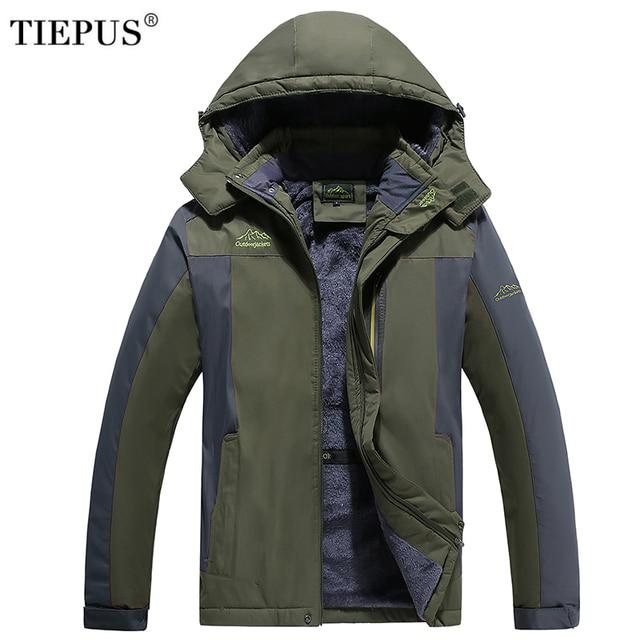 TIEPUS new plus size L~5XL 6XL 7XL 8XL 9XL  winter jacket men's  Hooded Thicken plus velvet warm waterproof Down Park Men  Coat