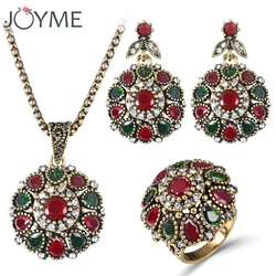 Women 2016 crystal flower necklace sets fashion earing fashion vintage ethnic jewelry turkish 3pc nigerian red.jpg 250x250