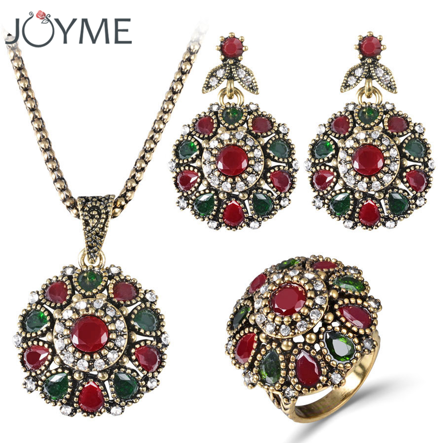 Women 2018 Crystal Flower Necklace Sets Fashion Earing Fashion Vintage Ethnic Jewelry Turkish 3Pc Nigerian Red Bead Necklace