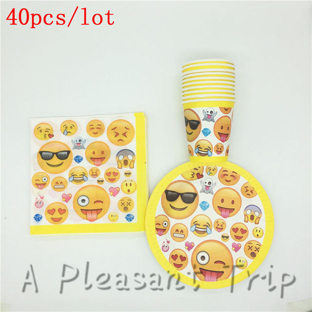 40pcs Party Supplies Cartoon Emoji Themed Disposable Tableware Set Smile Face Birthday Paper Cup Baby Shower Napkin