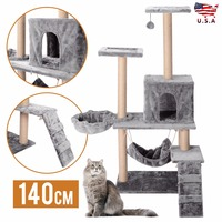 Cat Tree Condo House Pet Cats Tower Scratching Post Furniture Jumping Play Toy Gray Beige Cat Climbing Frame