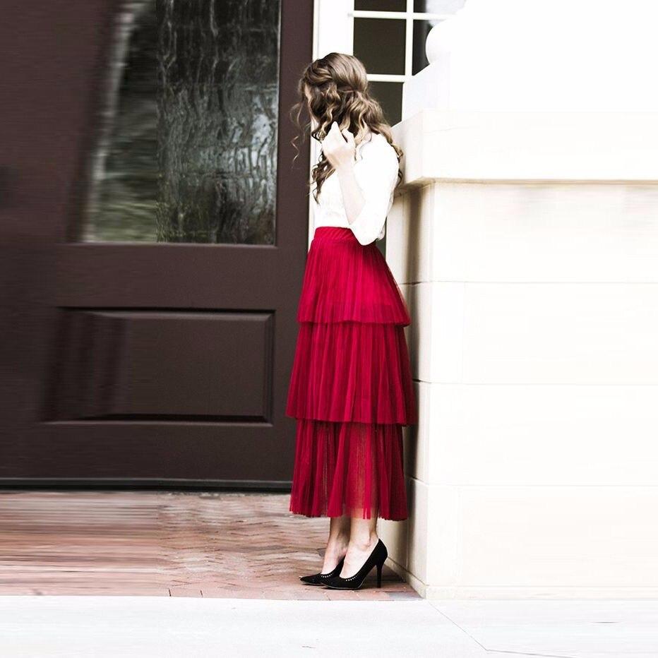Mujer La Jupes Made Custom Volants Femmes Jupe De Ruches Faldas Longueur Rose Tulle Mode Adulte Pour À Rouge Élastique 2018 Cheville Féminine 0SPU0w1Bq