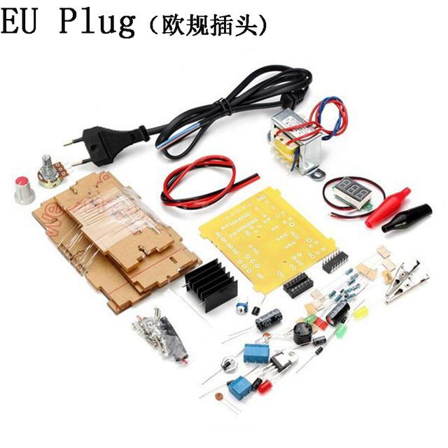 DIY Kit plug UE Tensão Regulada LM317 Ajustável Poder Step-down Suite abastecimento Módulo plug UE diy kit LM 317 Livre grátis