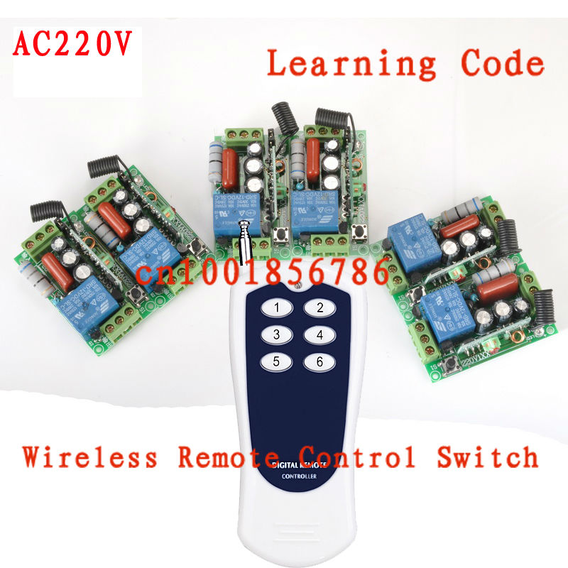 220V 1CH Radio remote control switch light lamp LED ON OFF 6Receiver&1transmitter Learning Code remote control switch led light lamp remote on off system ac85v ac260v 100v 110v 240v 230v 127v learning code receiver 315 433