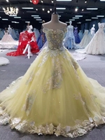 Plus Size Ball Gown Bridal Gowns Real Photo 2017 Yellow High Quality Elegant Luxury Lace Wedding