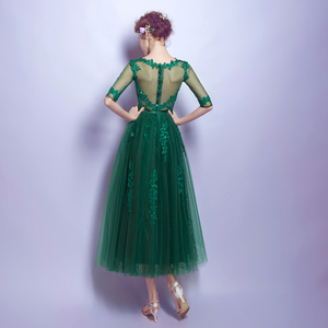 Image 2 - 100% Real Image Hunter Green Women Evening Dresses Lace with Bow Half Sleeves Beaded Party Prom Latest Evening Gown Designs