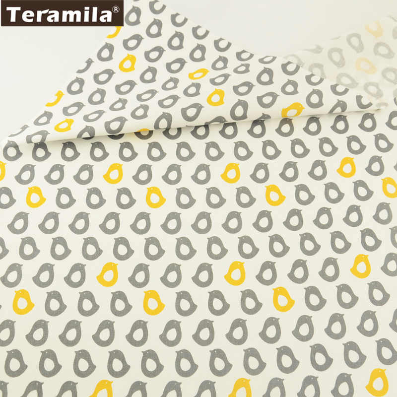 Teramila Fabric 100% Cotton Quiting Textile Printed Yellow and Grey Cartoon Birds Designs Bedding Baby Cloth Dolls Decoration