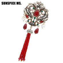 Fashion Turkish Women Red Bead Flower Brooch Pins Antique Gold Color Resin Tassels Corsage Indian Vintage Ethnic Wedding Jewelry(China)