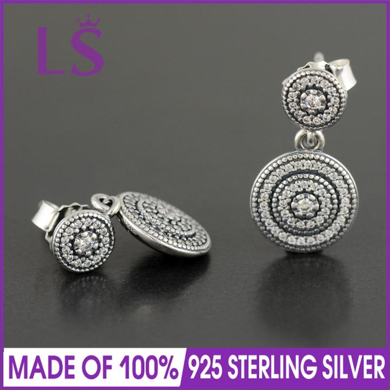 LS Micro CZ Pave Radiant Elegance Stud Earrings For Women 925 Sterling Silver Geometric Long Earring