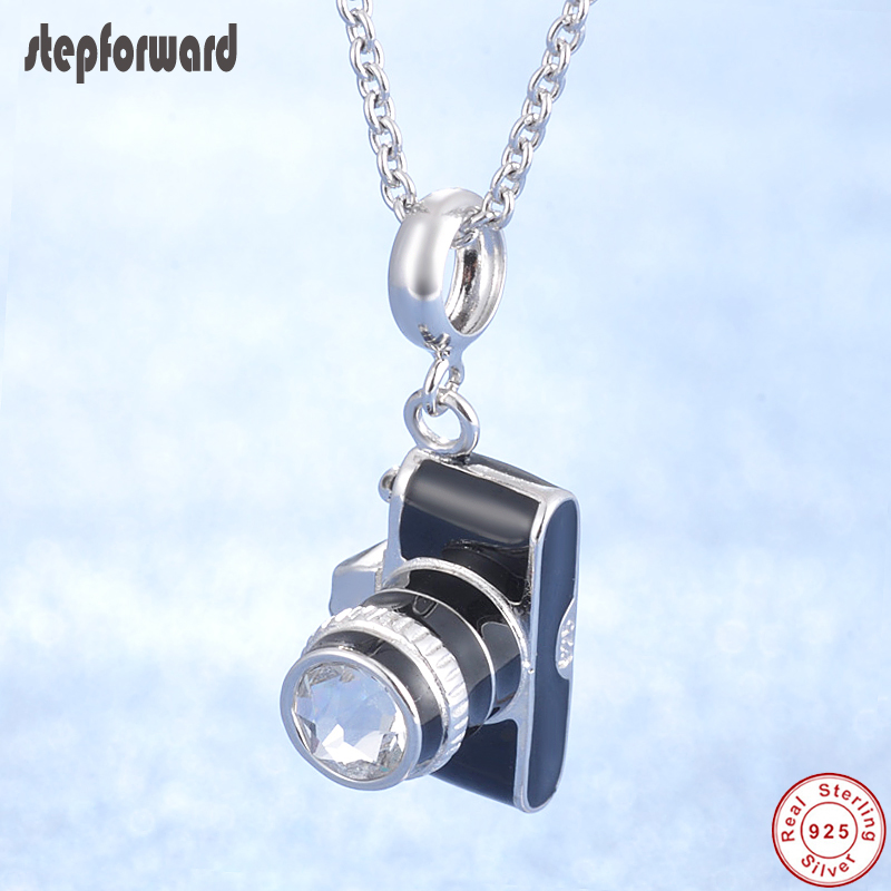Classical Black Enamel Camera Mini Superior Quality Design 925 Sterling Silver Camera Pendant Necklace Fit Women Charm Bracelet
