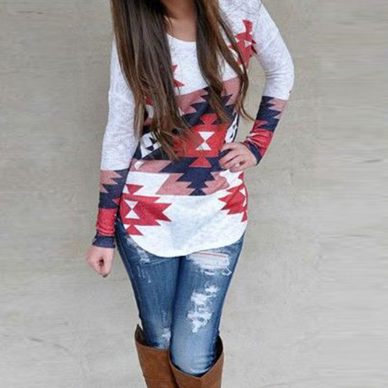 Women Blouse Tops Fashion Geometric Printed Shirt Asymmetric Long Sleeve Irregular O Neck Casual Blusas Tops Multicolor