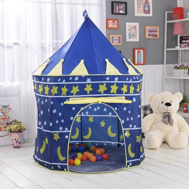 bee4ad66b Play Tent Portable Foldable Tipi Prince Folding Tent Children Boy Castle  Cubby Play House Kids Gifts Outdoor Toy Tents