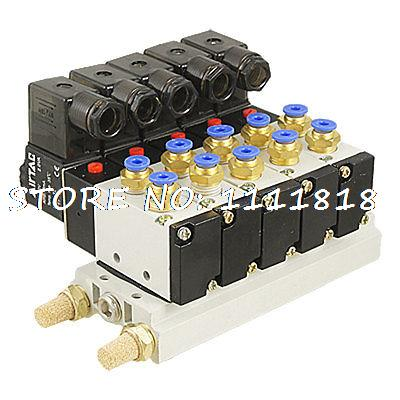 AC 220V 2 Position 5 Way Single Head 5 Pneumatic Solenoid Valve w Base Qjbcl free shipping 10sets lot pneumatic ac 220v quadruple solenoid valve w base push in connectors silencers 5 stations