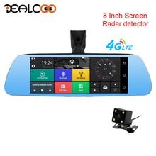 Dealcoo 8′ зеркало регистраторы заднего вида Камера с Антирадары gps 3 в 1 Двойной объектив 4 г Android 5,1 1080 P full HD парковка монитор