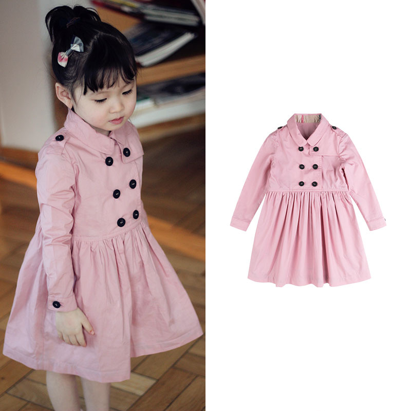 Girls Classic British Style Long Sleeve Double-breasted Round Neck Insert Bag Windbreaker Dress Dress