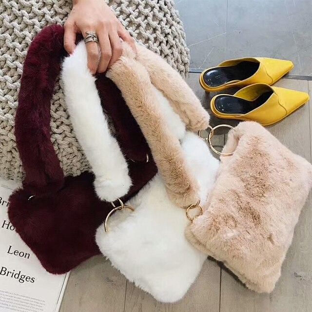 Модные зимние Искусственный мех для женщин дизайнер сумка женский клатч Сумка-конверт Плюшевые Кошелек Слинг курьерские Сумки для обувь