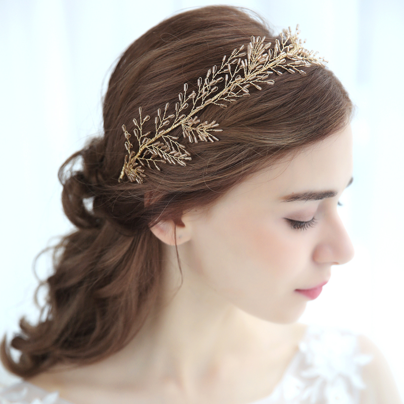 Fashion Golden Leaf Bridal Headband Crown Wedding Hair Accessories Bridal Headpiece Women Party Hair Jewelry seiko настольные часы seiko qhg038gn z коллекция настольные часы