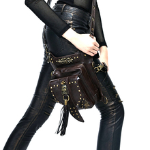 New Motorcycle Bag Female Male Black Pu Leather Leg Package Motorcycle Riding Cool Rivets Multi function
