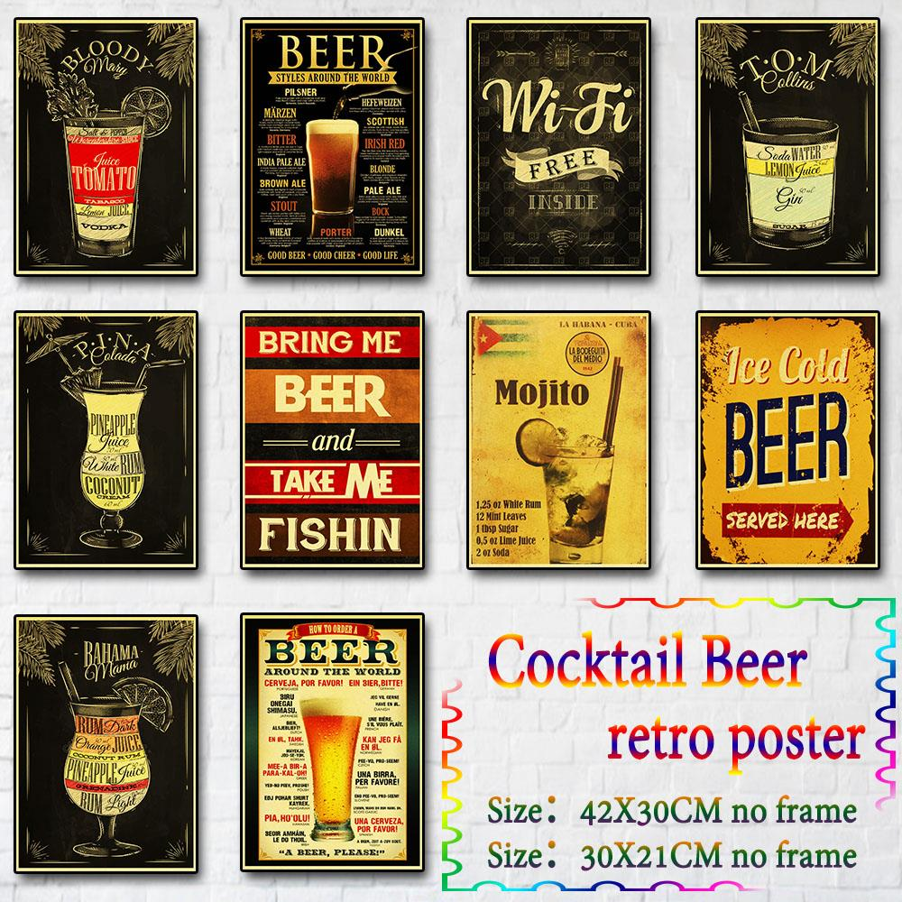 Funny Beer Retro Poster Home Furnishing Decoration Craft Cocktail Beer Poster Print Drawing Painting Wall Stickers