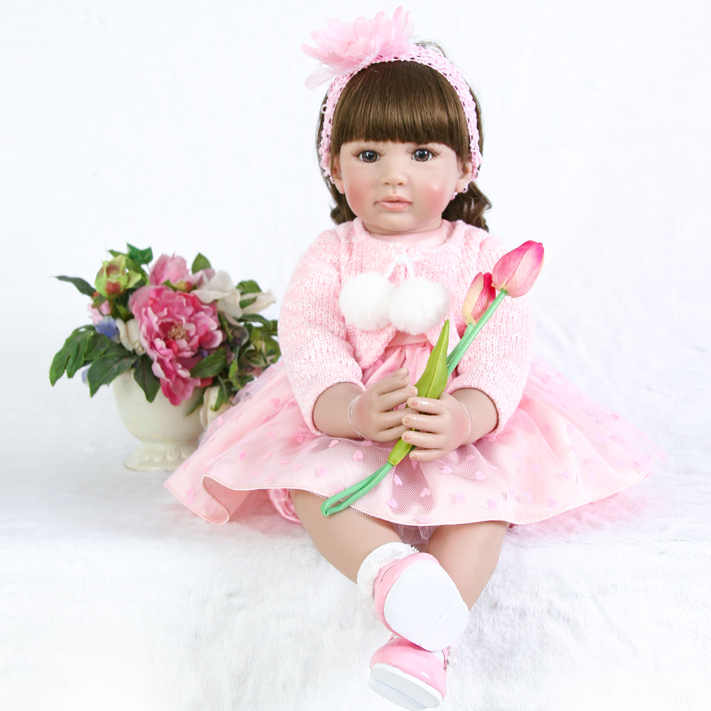 Boutique gift 3/4 Silicone Reborn Baby Girl Doll Toy Non-toxic Vinyl Princess Babies Like Alive Bebe Bonecas best Xmas Gift G19Boutique gift 3/4 Silicone Reborn Baby Girl Doll Toy Non-toxic Vinyl Princess Babies Like Alive Bebe Bonecas best Xmas Gift G19