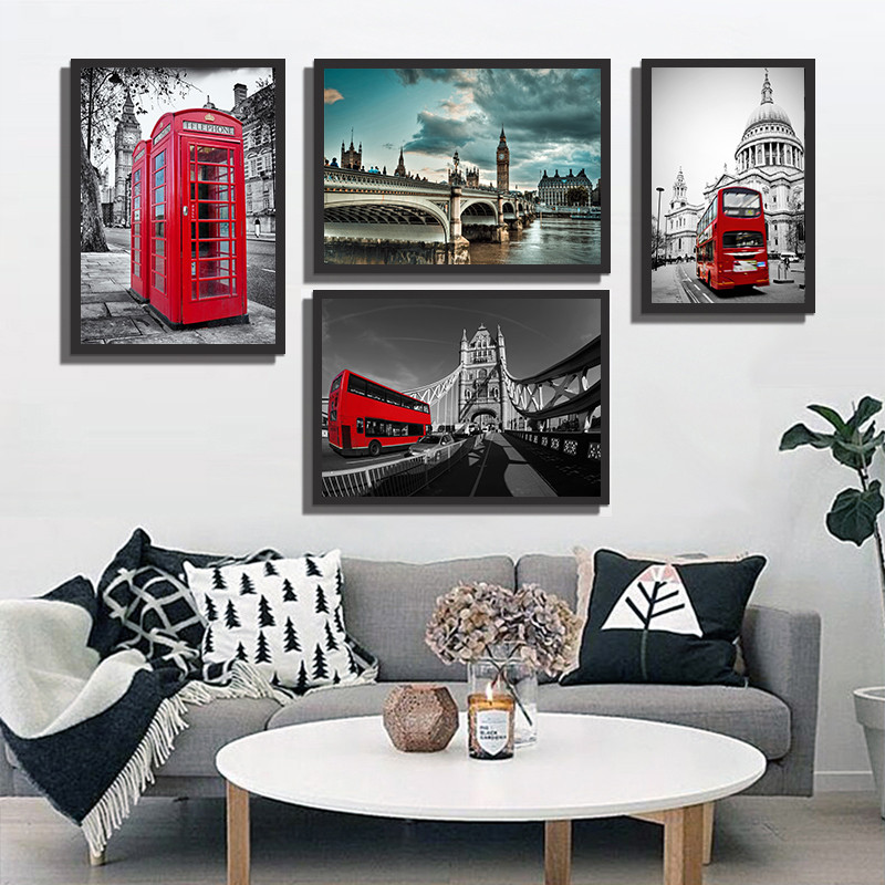 Red Bus London Street Cityscape Canvas Pictures for Living Room Wall Decor Cuadros Decor ...