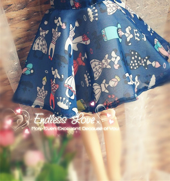 Fashion Blue Print Chiffon Skirt  for BJD 1/6,1/4 MSD,1/3 SD16,DD AS  LUTS Doll Clothes CWB40