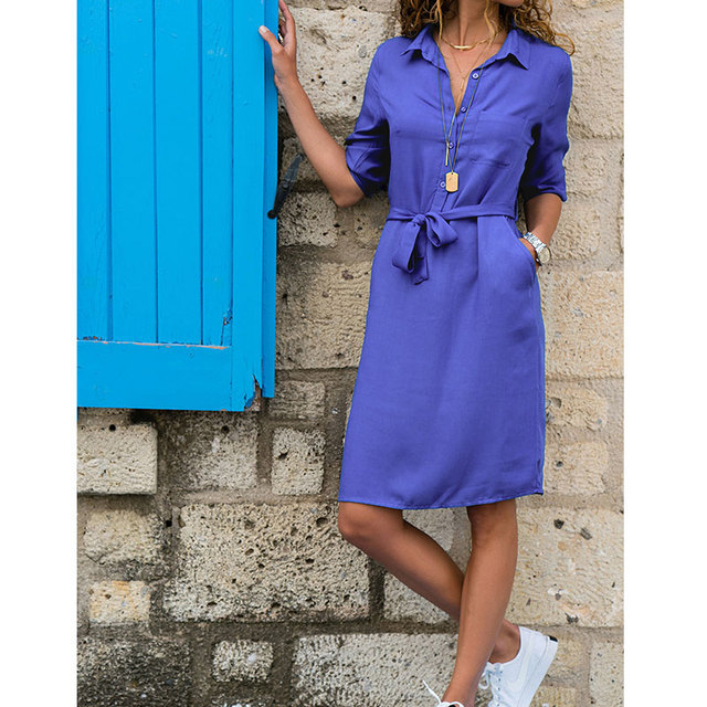 Turn-down Collar Half Sleeve Lacing Shirt Dress Casual Solid Pockets Knee-length Dresses Ladies Fashion Summer Dress Vestidos