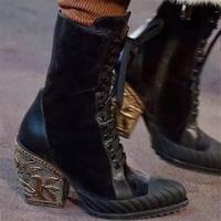 EMMA KING/Новинка 2018 года, модные женские ботинки для подиума, фирменный дизайн, женские ботинки martin на квадратном каблуке с перекрестной шнуров