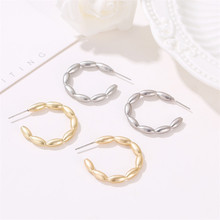 TTLIFE Simple Gold Sliver Color Circle Creole Hoop Earrings Irregular Wave Big Round Earrings for Women Charms Jewelry Gifts