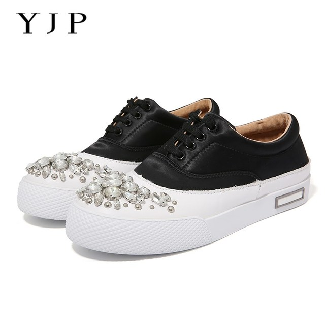YJP Women Vulcanize Shoes, Black/Pink/Beige Crystal Satin Round Toe Flat Shoes, Genuine Leather Thick Bottom Casual Sneakers