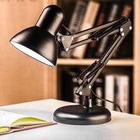 220V Long Arm Desk Lamp LED Eye Guard Black Desk Lamps Dimming Reading Lighting Iron Art