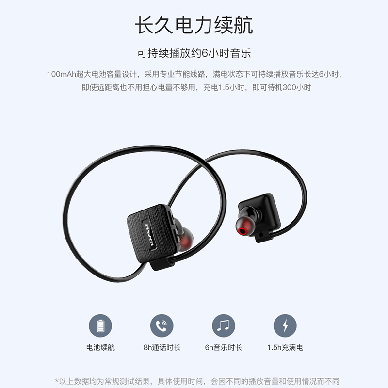 AWEI A848BL Wireless Sports Headset bluetooth wireless waterproof earphone with microphone Music Stereo Earbuds black headphones 4