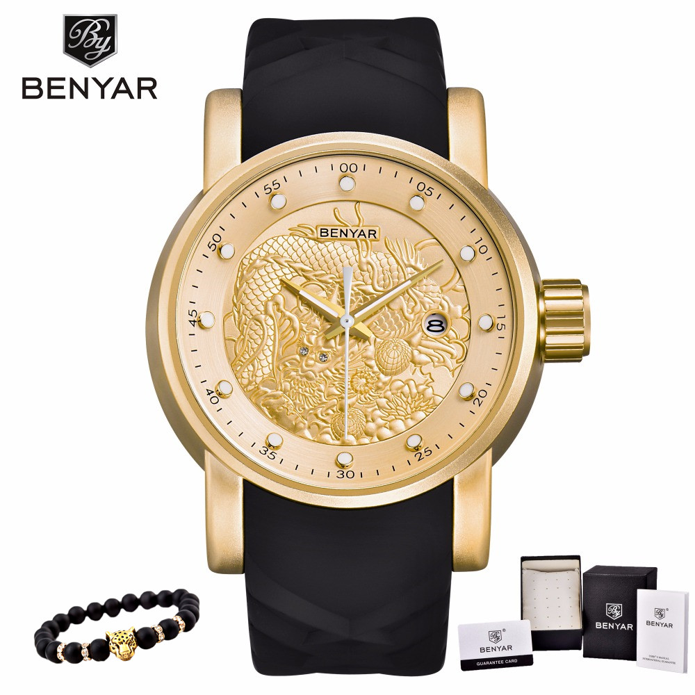 Chinese Dragon Calendar BENYAR Luxury Brand Watches Men Waterproof Silicone Strap Fashion Quartz simple Watch Relogio Masculino