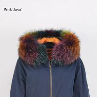 2017 Nouvelle Arrivée Rose Java 5028 Haute Qualité 100% Oie avec Fourrure De Raton Laveur Collier Oversize Manteau Parka Pour L'hiver Top mode