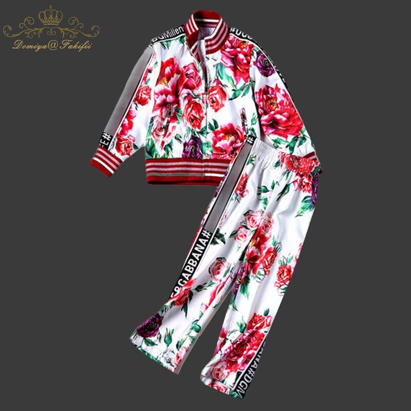 Domiya&Fakifii Mother And Daughter Sets 2018 Autumn Boys Girls Clothing Sets Children Clothing Rose Print Sweatshirts+Pants Sets domiya