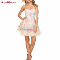Colorful Applique Short Homecoming Dress Lace up Sleeveless Above Knee Ruffle Tulle Mini Special Occasion Dresses Tulle Dress