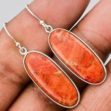 Bohemian Ethnic Orange Oval Stone Earrings For Women Vintage Silver Long Drop Earrings Fine Jewelry Bijoux Femme Gifts S5C219(China)
