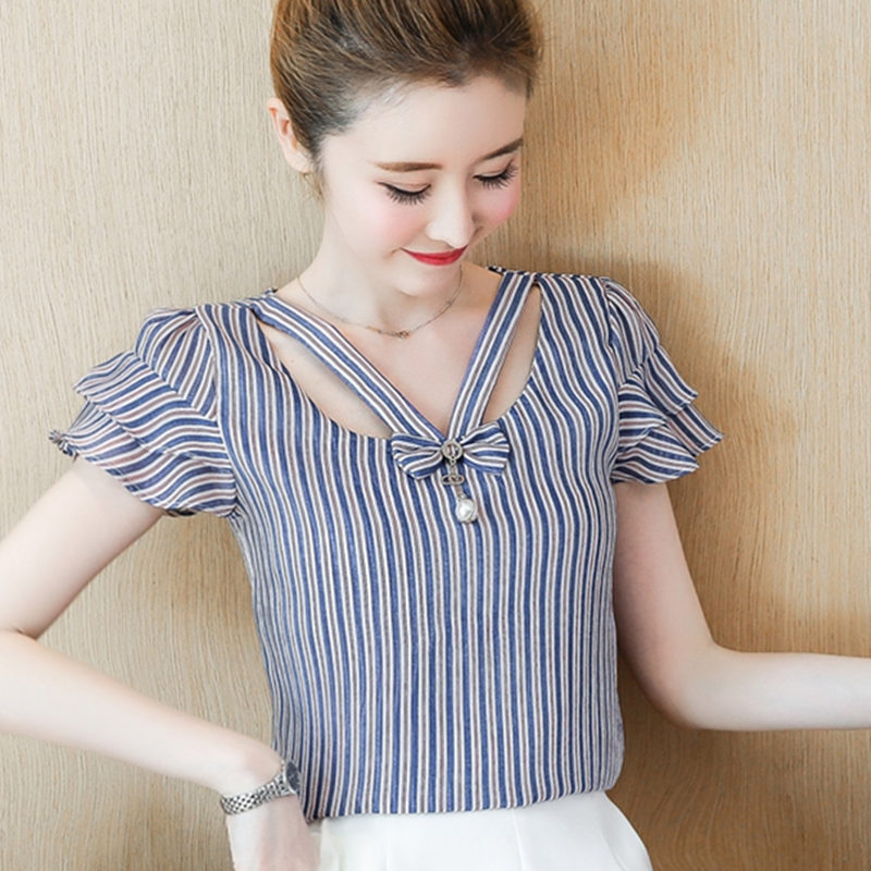Women Summer Chiffon Blouse Shirt Blouses 2018 Fashion Elegant Hollow Stripes Shirts Short Sleeve Office Ladies Tops Plus Size