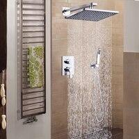 DCAN Bathroom Luxury Rain Mixer Shower Combo Set Wall Mounted 10 Rainfall Shower Head System Polished