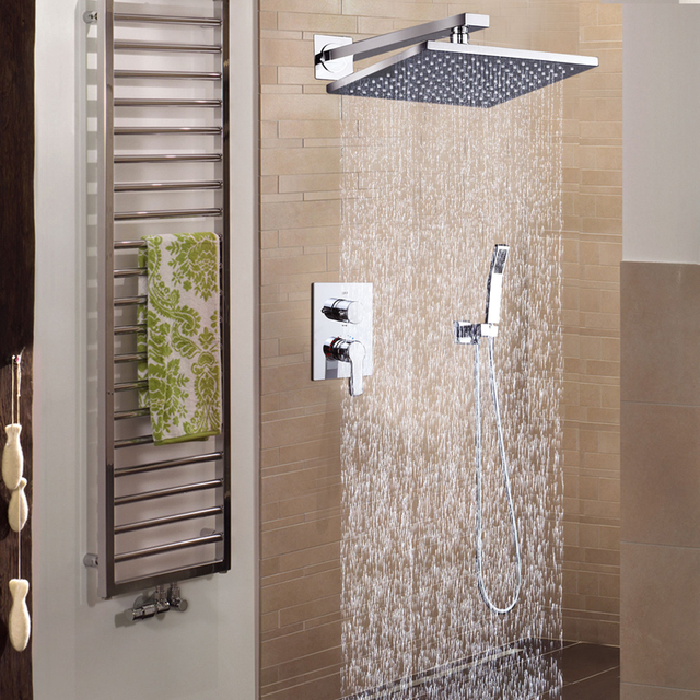 DCAN Bathroom Luxury Rain Mixer Shower Combo Set Wall Mounted 10 ...