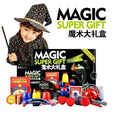 Tour de Magie Ensemble 50 Sortes de Jeu Magique avec DVD Enseignement Professionnel Tours de magie Stade Close Up Magie Prop Gimick Carte Puzzle Jouet
