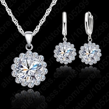 Wedding Jewellery Set Zircon Necklace Earrings Women