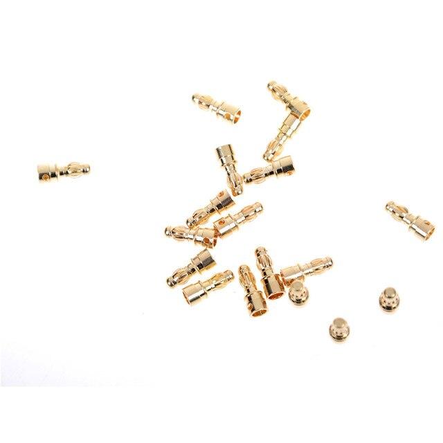RC Gold Bullet Connector batería ESC Banana Plug con tubo termorretráctil conectores dorados macho al por mayor 20 unids/lote 3,5mm