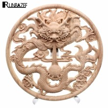 RUNBAZEF Wooden Home Decoration Accessories Wood Carved Corner Onlay Applique Craft Furniture Door Wall Sticker Decor