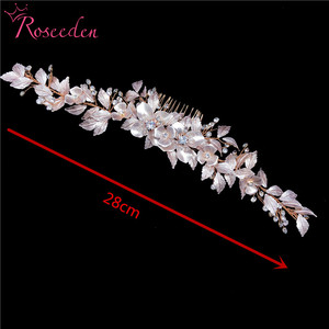 Image 5 - newly Rose Gold Wedding long Hair combs Handmade metal Flower Crystal wedding Hair Accessories Hair Ornaments Wholesale RE3486