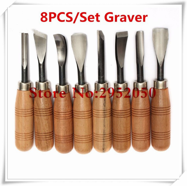 ФОТО Free shipping New Arrival 8Pcs/set Graver Chip Detail Chisel WoodWorking Carving Hand Tools Knives High Quality